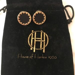 House of Harlow gold/leather earrings